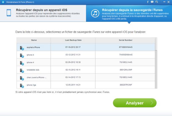 Comment extraire des contacts depuis la sauvegarde iPhone dans iPhone drfone-sc021